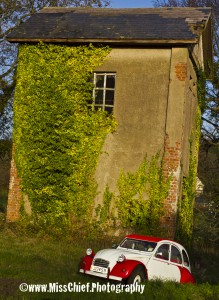 2cv and old building